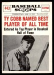 1961 Nu-Card Scoops #443   -   Ty Cobb  Ty Cobb named best player of All-Time Front Thumbnail