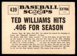 1961 Nu-Card Scoops #439   -   Ted Williams Ted Williams Hits .406 for Season Back Thumbnail