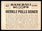 1961 Nu-Card Scoops #417   -   Fred Merkle  Merkle Pulls Boner Back Thumbnail