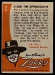 1958 Topps Zorro #2   Diego The Swordsman Back Thumbnail