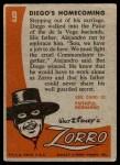 1958 Topps Zorro #9   Diegos Homecoming Back Thumbnail