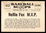1961 Nu-Card Scoops #472   -  Nelson 'Nellie' Fox Nellie Fox American League MVP Back Thumbnail