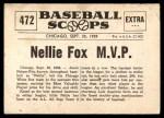 1961 Nu-Card Scoops #472   -  Nelson 'Nellie' Fox Nellie Fox American League MVP Back Thumbnail