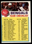 1973 Topps  Checklist   Bengals Front Thumbnail
