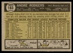 1961 Topps #183 COR Andre Rodgers  Back Thumbnail