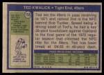 1972 Topps #155  Ted Kwalick  Back Thumbnail