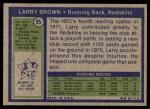 1972 Topps #95  Larry Brown  Back Thumbnail