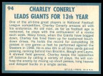 1961 Topps #94   -  Charley Conerly 1960 Football Highlights Back Thumbnail