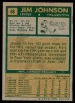 1971 Topps #48  Jim Johnson  Back Thumbnail