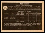 1967 Topps #10  Ted Harris  Back Thumbnail