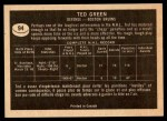 1967 Topps #94  Ted Green  Back Thumbnail