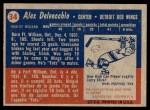 1957 Topps #34  Alex Delvecchio  Back Thumbnail