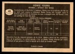 1967 Topps #49  Howie Young  Back Thumbnail
