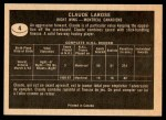 1967 Topps #4  Claude Larose  Back Thumbnail