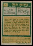 1971 Topps #74  Gerry Meehan  Back Thumbnail
