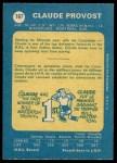 1969 O-Pee-Chee #167  Claude Provost  Back Thumbnail