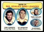 1971 Topps #4   -  Tony Esposito / Ed Johnston / Gerry Cheevers / Ed Giacomin Goalies Win Leaders Front Thumbnail