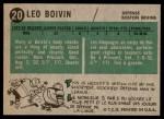 1958 Topps #20  Leo Boivin  Back Thumbnail