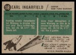 1958 Topps #18  Earl Ingarfield  Back Thumbnail