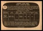 1966 Topps #42  Sid Abel  Back Thumbnail