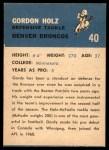 1962 Fleer #40  Gordy Holz  Back Thumbnail