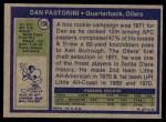 1972 Topps #156  Dan Pastorini  Back Thumbnail