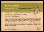 1961 Fleer #122  Dean Derby  Back Thumbnail