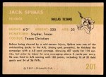 1961 Fleer #201  Jack Spikes  Back Thumbnail
