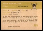 1961 Fleer #195  Alan Goldstein  Back Thumbnail