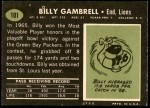 1969 Topps #101  Billy Gambrell  Back Thumbnail