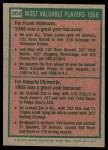 1975 Topps #204   -  Frank Robinson / Roberto Clemente 1966 MVPs Back Thumbnail