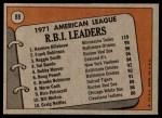 1972 Topps #88   -  Harmon Killebrew / Frank Robinson / Reggie Smith AL RBI Leaders   Back Thumbnail