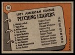 1972 Topps #94   -  Vida Blue / Mickey Lolich / Wilbur Wood AL Pitching Leaders   Back Thumbnail
