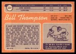 1970 Topps #231  Bill Thompson  Back Thumbnail