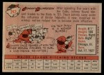 1958 Topps #242  Johnny Klippstein  Back Thumbnail