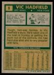 1971 Topps #9  Vic Hadfield  Back Thumbnail