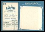 1961 Topps #60  J.D. Smith  Back Thumbnail