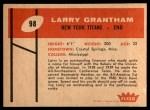 1960 Fleer #98  Larry Grantham  Back Thumbnail