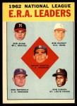 1963 Topps #5   -  Sandy Koufax / Don Drysdale / Bob Gibson / Bob Shaw / Bob Purkey NL ERA Leaders Front Thumbnail