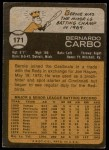 1973 Topps #171  Bernie Carbo  Back Thumbnail