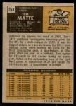 1971 Topps #263  Tom Matte  Back Thumbnail