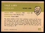 1961 Fleer #85  Yale Lary  Back Thumbnail