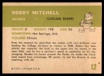 1961 Fleer #12  Bobby Mitchell  Back Thumbnail