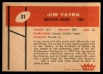 1960 Fleer #31  Jim Yates  Back Thumbnail