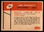 1960 Fleer #40  Jim Padgett  Back Thumbnail