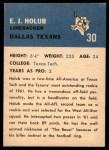 1962 Fleer #30  EJ Holub  Back Thumbnail