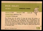 1961 Fleer #128  Dick Haley  Back Thumbnail
