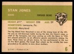 1961 Fleer #6  Stan Jones  Back Thumbnail