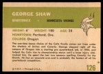 1961 Fleer #126  George Shaw  Back Thumbnail