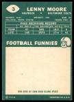 1960 Topps #3  Lenny Moore  Back Thumbnail